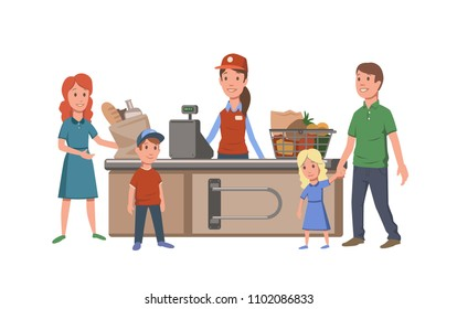 Cashier and customers at the cash register in convenience store. Family buying food in supermarket. Shopping. Flat vector illustration. Isolated on white background.