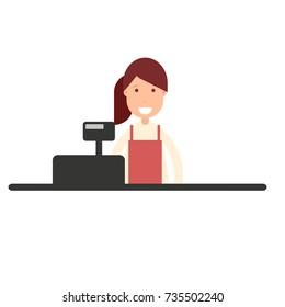 cashier girl in supermarket. Vector illustration isolated on white background
