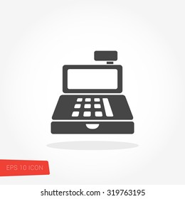 Cashier Isolated Flat Web Mobile Icon / Vector / Sign / Symbol / Button / Element / Silhouette