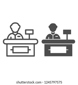 Cashier line and glyph icon. Supermarket cashier vector illustration isolated on white. Cash outline style design, designed for web and app. Eps 10