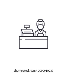 Cashier linear icon concept. Cashier line vector sign, symbol, illustration.