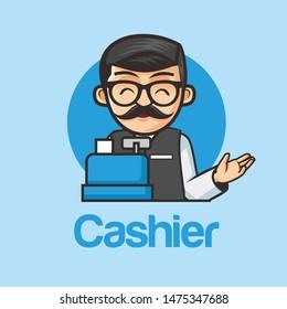 cashier man character vector mascot  and logo design