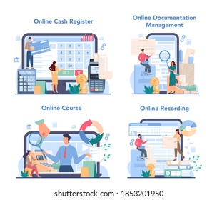 Cashier online service or platform set. Worker behind the cashier counter in the store. Cash reporting and calculations. Online cash register, documentation, course, recording. Vector illustration
