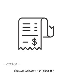 cashier receipt icon, receipt bill, thin line symbol for web and mobile phone on white background - editable stroke vector illustration eps10