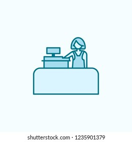 cashier in store 2 colored line icon. Simple colored element illustration. cashier in store outline symbol design from shopping mall set