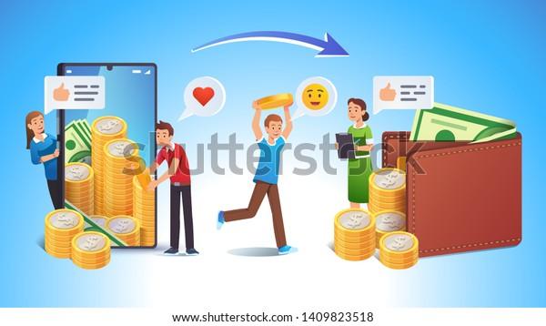 Cashing Online App Bank Earnings Income Stock Vector