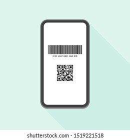 Cashless payment, Point give back  concept. Flat design vector illustration Smartphone icon with Barcode ( code128 ) and QR code (JPQR)  on the pastel light blue background.  Contactless payment ad.