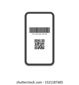 Cashless payment, Point give back  concept. Flat design vector illustration Smartphone icon with Barcode ( code128 ) and QR code (JPQR)  on the white background.  Contactless payment ad.