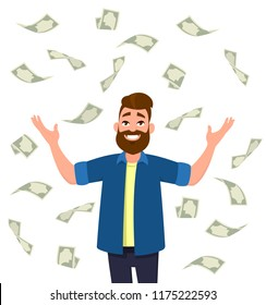 Cash/money/currency bills falling around young man.  Falling money  successful finance and business concept illustration in vector cartoon style.