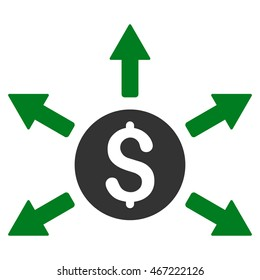 Cashout icon. Vector style is bicolor flat iconic symbol with rounded angles, green and gray colors, white background.