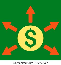 Cashout icon. Vector style is bicolor flat iconic symbol with rounded angles, orange and yellow colors, green background.