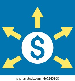 Cashout icon. Vector style is bicolor flat iconic symbol with rounded angles, yellow and white colors, blue background.