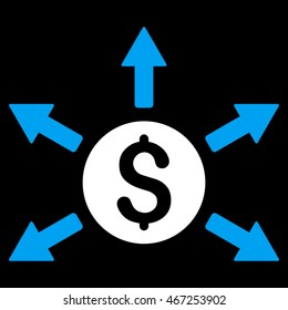 Cashout icon. Vector style is bicolor flat iconic symbol with rounded angles, blue and white colors, black background.