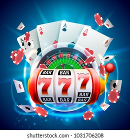 Casino 3d cover, slot machines and roulette with cards, Scene background art. Vector illustration