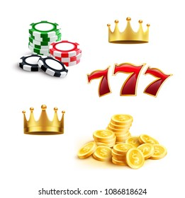Casino 3d icon for gambling sport and gaming industry themes. Gaming chip, coin money, jackpot lucky seven and golden crown isolated symbol. Online casino, slot machine and internet bets design