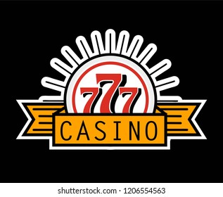 Casino 777 advertising banner isolated on white background.