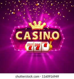 Casino 777 slots banner text, against the backdrop of bright rays. Vector illustration