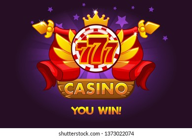 Casino awards 777. Casino rating icons with poker chip and ribbon. Vector illustration for casino, slots and game UI.