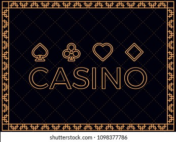 Casino background with art deco frame and card suits. Design a template for invitations, leaflets and greeting cards. The style of the 1920s - 1930s. Vector illustration