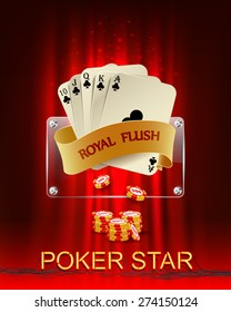 Casino background with poker combination royal flush and chips. Vector illustration.
