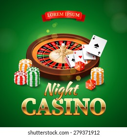 Casino background with roulette wheel, chips, game cards and dice. Vector illustration.