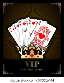 Casino background.Vip.Vintage style and Poker Tournament label. Royal flush. Texas holdem.