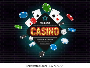 Casino banner with dice, cards and falling chips. Vector illustration.