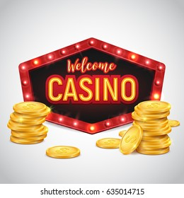 Casino banner with gold coins and shining retro billboard. Casino poster vintage style. Vector illustration.