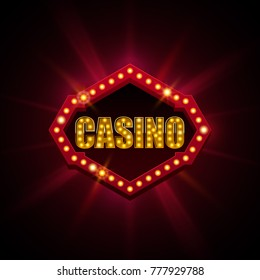 Casino banner with light effect on abstract background