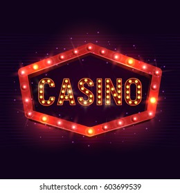Casino banner on a shining retro billboard. Casino poster vintage style. Vector illustration.