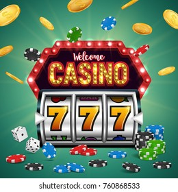 Casino banner with a retro billboard, chips, dice, slot machine and falling coins. Vector illustration.
