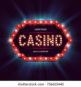 Casino banner with shining retro billboard. Casino poster vintage style. Vector illustration.