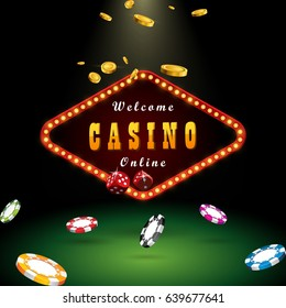 Casino banner sign decoration. Vector billboard for gambling in casino. Template with coins and chips