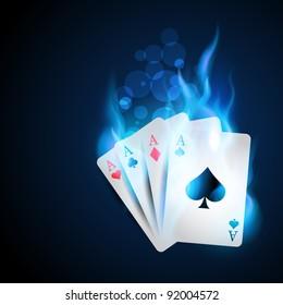 casino blue burning card design