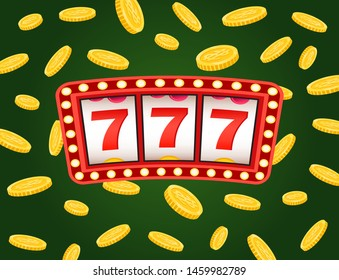 Casino board with red strike 777 icons, business success. Signboard with light and coins on green, game machine, dollar currency, roulette or lottery vector. Flat cartoon