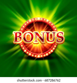 Casino bonus banner on a bright green background. Vector illustration