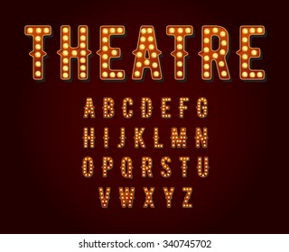 Casino or Broadway Signs style light bulb Alphabet in Vector