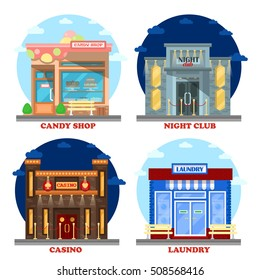Casino building and nightclub entertainment, laundry and candy shop or store. Gambling industry, candy or confectionery retail, structure exterior view, night relaxation or leisure theme
