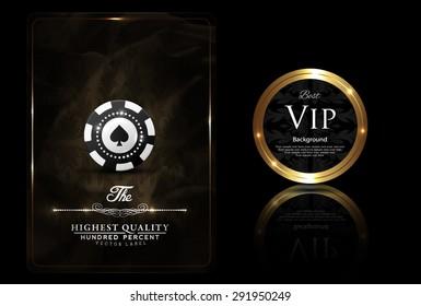 Casino card design, VIP chip, vintage, elegant, gold