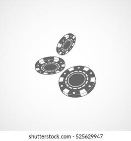 Casino Chip Flat Icon On White Background