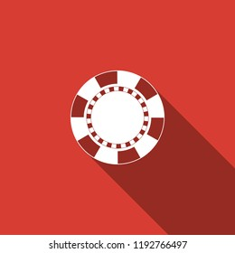 Casino chip icon isolated with long shadow. Flat design. Vector Illustration