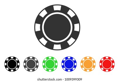 Casino Chip icon. Vector illustration style is a flat iconic casino chip symbol with gray, yellow, green, blue, red, black color variants. Designed for web and software interfaces.