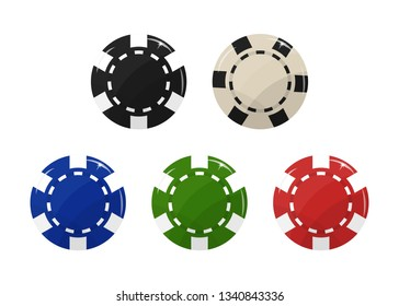 Casino chip set. Black, blue, red, green and white Vector illustration