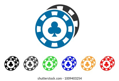 Casino Chips icon. Vector illustration style is a flat iconic casino chips symbol with gray, yellow, green, blue, red, black color versions. Designed for web and software interfaces.