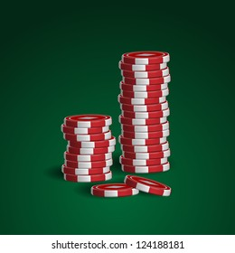 Casino chips stacks on green background