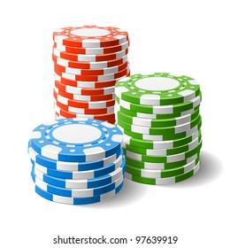 Casino chips stacks. Vector.