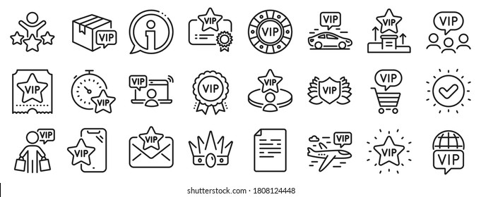 Casino chips, very important person, delivery parcel. Vip line icons. Certificate, player table, vip buyer icons. Crown, casino ticket, business class flight. Membership privilege. Vector