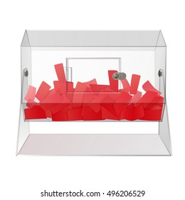casino clear see through acrylic raffle turning drum with red paper tickets isolated on white background. vector illustration