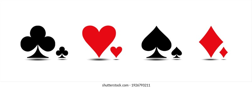 Casino. Colored card suit icon vector, playing cards symbols, vector