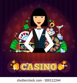 Casino dealer concept with cards roulette cocktail and shamrock flat vector illustration